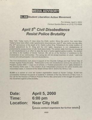 April 5th Civil Disobedience - Resist Police Brutality