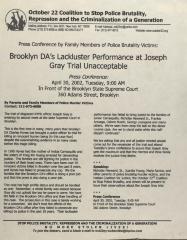 Brooklyn DA's Lackluster Performance at Joseph Gray Trial Unacceptable