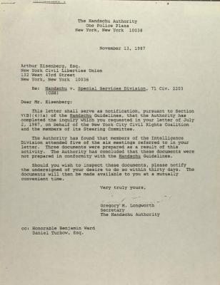 Correspondence to the New York Civil Liberties Union