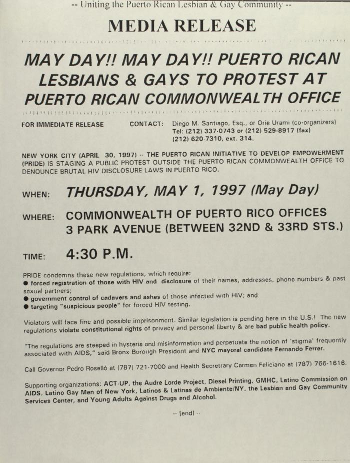 May Day!! May Day!! Puerto Rican Lesbians & Gays to Protest At Puerto Rican Commonwealth Office