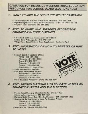 Campaign For Inclusive Multicultural Education Resources For School Board Elections 1993