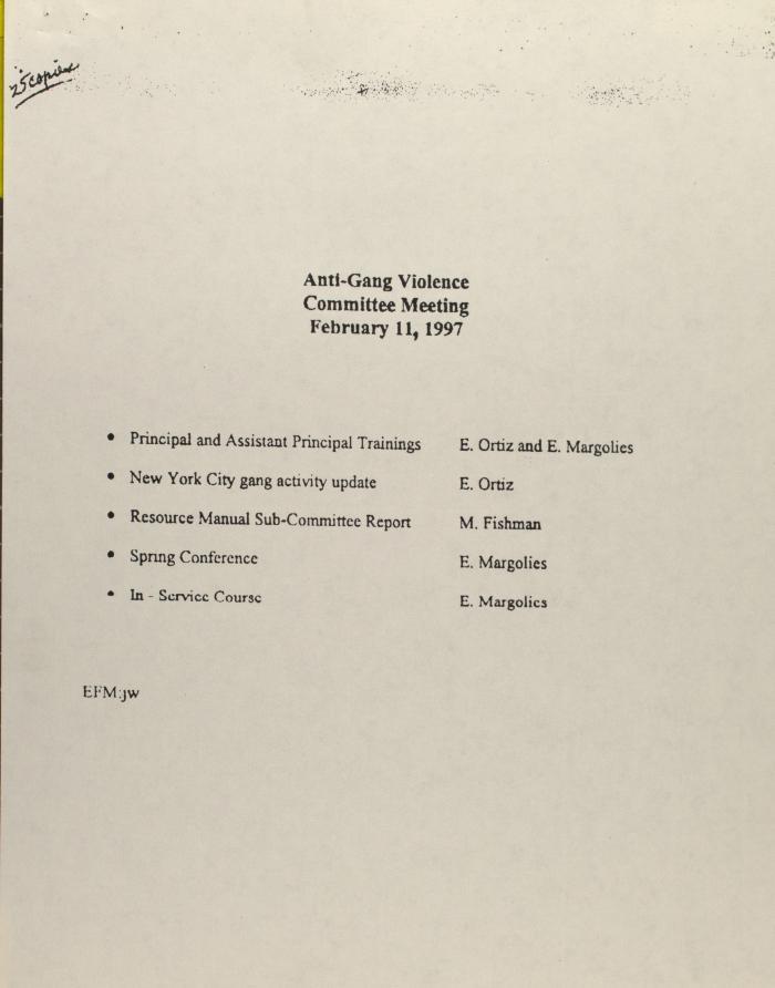 Anti-Gang Violence Committee Meeting