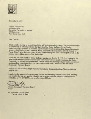 Correspondence from Centro Community Advisory Board