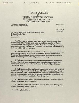 Memorandum from City College
