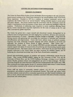 Centro de Estudios Puertorriqueños - Mission Statement