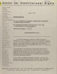 Memorandum from the Center for Constitutional Rights