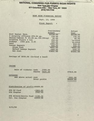 Boat Ride Financial Report