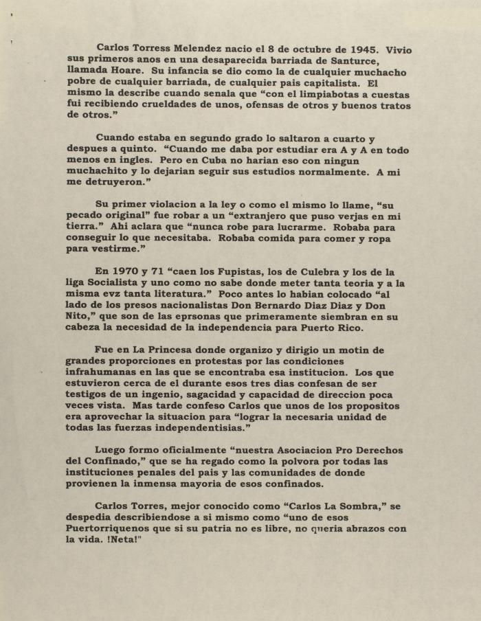 Carlos Torres Meléndez - Biographical Sketch