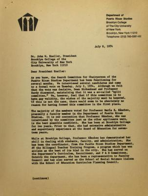Correspondence from the Dept. of Puerto Rican Studies at Brooklyn College