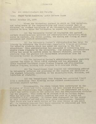 Memorandum from Third World Coalition / Latin Defense League