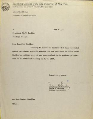 Correspondence from Dept. of Puerto Rican Studies at Brooklyn College