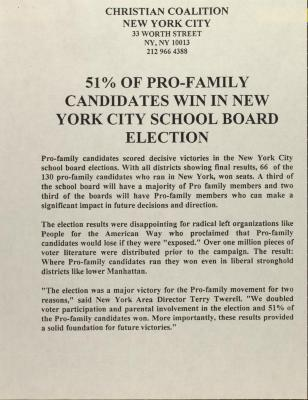 51 % of Pro-Family Candidates Win in New York City School Board Election