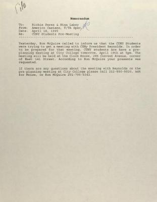 Memorandum from Americo Casiano
