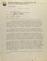 Memorandum from Brooklyn College President John W. Kneller