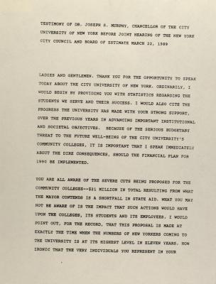 Testimony of Dr. Joseph S. Murphy, Chancellor of the City University of New York Before Joint Hearing of the New York City Council and Board of Estimate