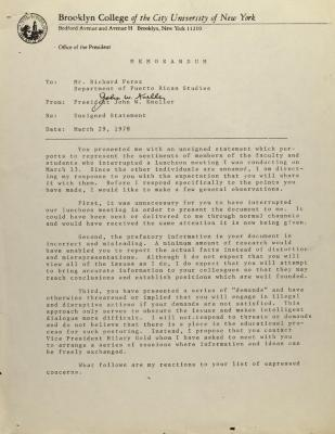 Memorandum from Brooklyn College President John W. Kneller