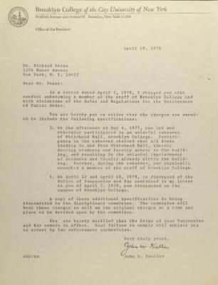 Correspondence from Brooklyn College President John W. Kneller