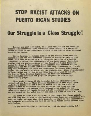 Stop Racist Attacks on Puerto Rican Studies - Our Struggle is a Class Struggle!
