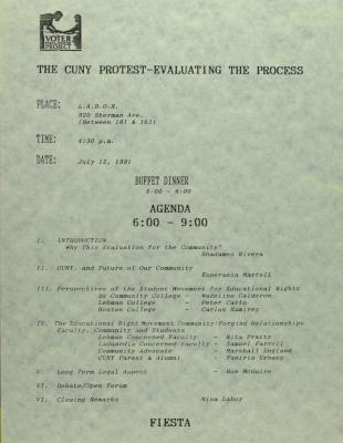 The CUNY Protest - Evaluating The Process - Agenda