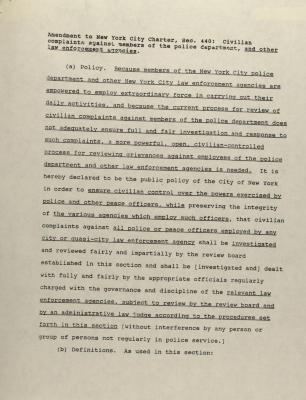 Amendment to New York City Charter, Sec. 440: Civilian complaint against members of the police department, and other law enforcement agencies