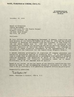 Correspondence to Comité Noviembre