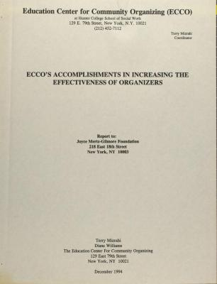 ECCO's Accomplishments in Increasing the Effectiveness of Organizers