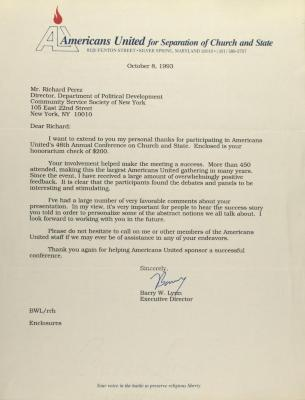 Correspondence from Americans United For Separation of Church and State