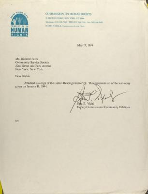 Correspondence from New York City Human Rights Commission