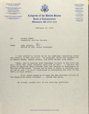 Correspondence from the Office of Congresswoman Nydia Velázquez