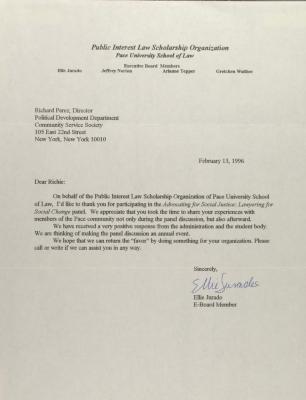 Correspondence from the Public Interest Law Scholarship Organization