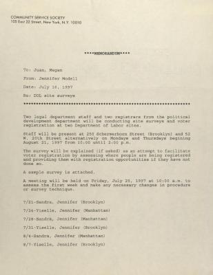 Correspondence to Community Service Society