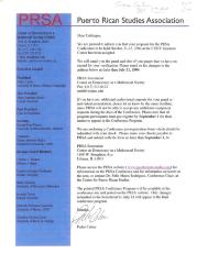 Letter from the Puerto Rican Studies Association