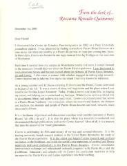 Letter by Rossana Rosado Quiñones