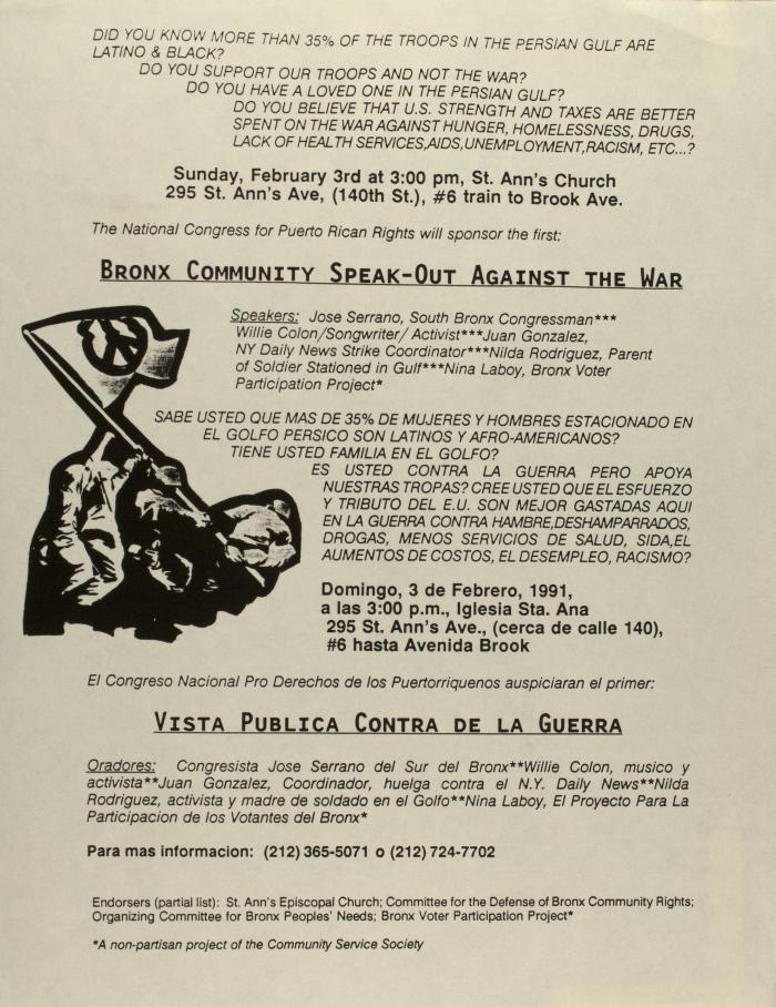 Bronx Community Speak-Out Against the War