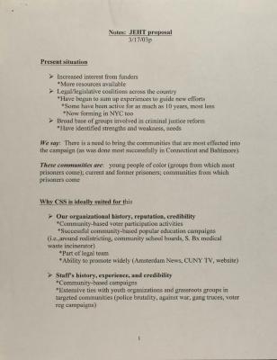 Notes: JEHT Proposal