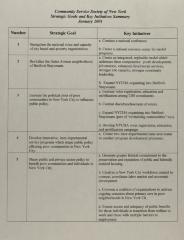 Community Service Society - Strategic Goals and Key Initiatives Summary