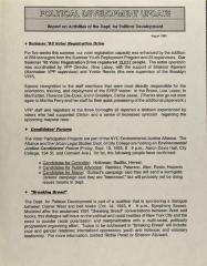 Political Development Update - Report on Activities of the Dept. for Political Development