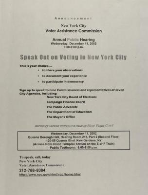 Speak Out on Voting in New York City