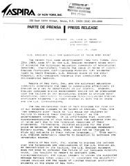 Press release from ASPIRA of New York, INC, 1989