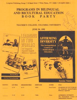 Flyer announcing Programs in Bilingual and Bicultural Education Book Party, 1992