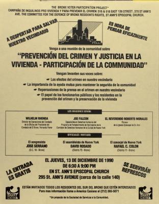 Prevención del Crimen y Justicia en la Vivienda - Participación de la Comunidad / Crime Prevention and Housing Justice - Citizen Involvement