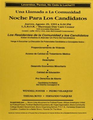 Una Llamada a la Comunidad - Noche Para los Candidatos / A Call to the Community - Candidates' Night