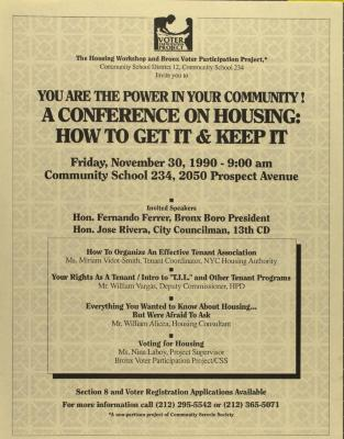 You Are the Power in Your Community! A Conference on Housing: How to Get It and Keep It