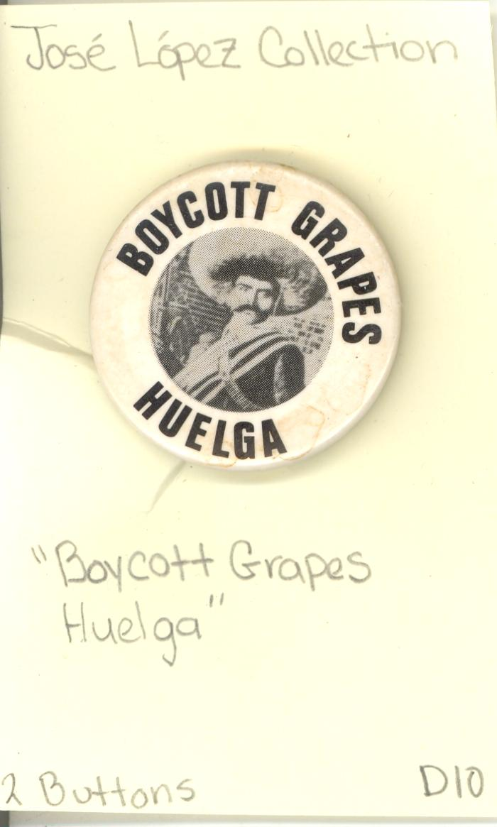 Button: Boycott Grapes. Huelga