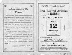 Gran Festival Artistico y Bailable a beneficio del Pueblo Español