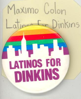Button: Latinos for Dinkins