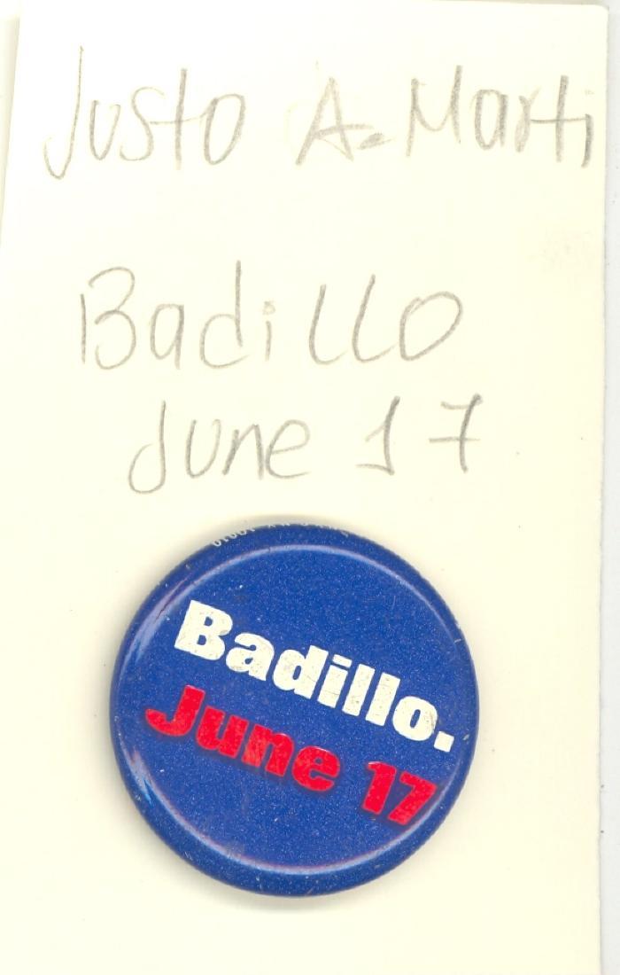 Button: Badillo. June 17.
