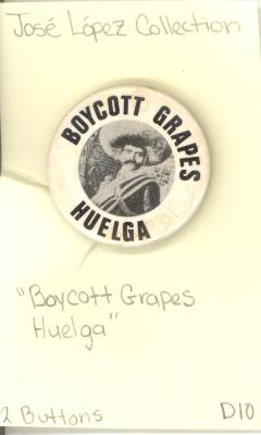Button: Boycott Grapes. Huelga