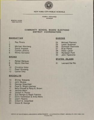 Community School Board Elections  - District Coordinators