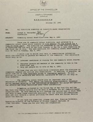 Correspondence from Joseph A. Fernandez
